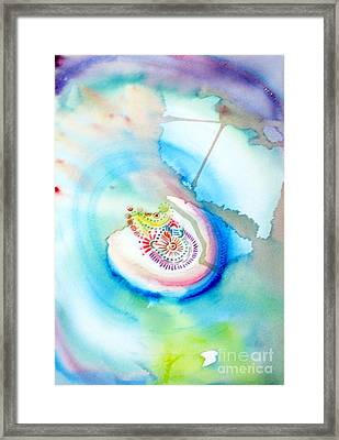 Framed Print featuring the painting Deep Blue by Mukta Gupta