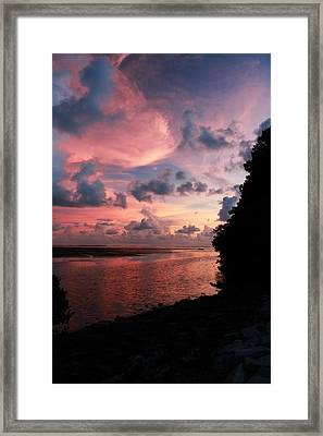 Out With A Roar Sunset Over Water Tarpon Springs Florida Framed Print