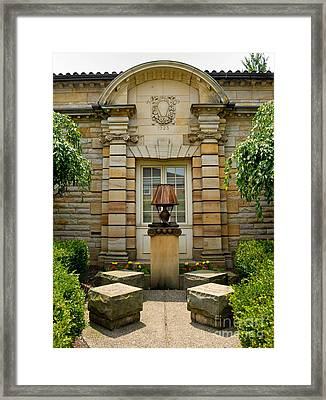 Outdoor Benches At Sewickely Pennsylvania Library Framed Print