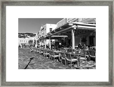 Outdoor Cafe In Mykonos Town Mono Framed Print