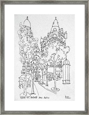 Outdoor Cafes Along Place St Framed Print