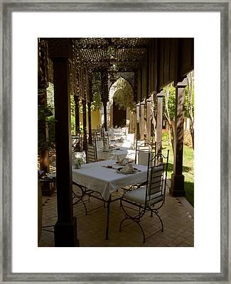 Outdoor Dining Area, Villa Des Orangers Framed Print