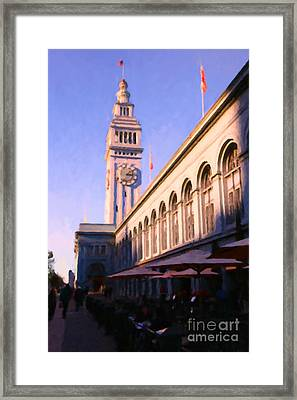 Outdoor Dining At San Francisco's Ferry Building At The Embarcadero - 5d20837 Framed Print