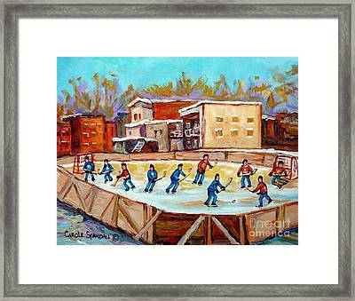 Outdoor Hockey Fun Rink Hockey Game In The City Montreal Memories Paintings Carole Spandau Framed Print by Carole Spandau