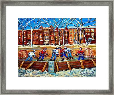 Outdoor Hockey Rink Winter Landscape Canadian Art Montreal Scenes Carole Spandau Framed Print