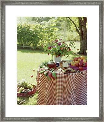 Outdoor Lunch In The Shade Of A Tree Framed Print by Wiliam Grigsby