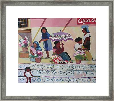 Framed Print featuring the painting Outdoor Market San Miguel Allende by Linda Novick