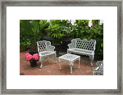 Outdoor Patio Oil Painting Framed Print