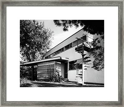Outdoor Spiral Staircase To The Roof-deck Of Mr Framed Print by Robert M. Damora