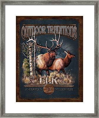 Outdoor Traditions Elk Framed Print by JQ Licensing
