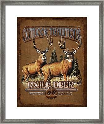 Outdoor Traditions Mule Deer Framed Print by JQ Licensing