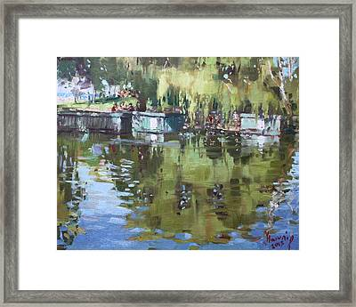 Outdoors At Port Credit Park Framed Print by Ylli Haruni