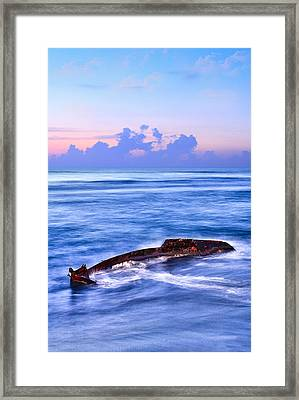 Outer Banks - Beached Boat Final Sunrise II Framed Print by Dan Carmichael