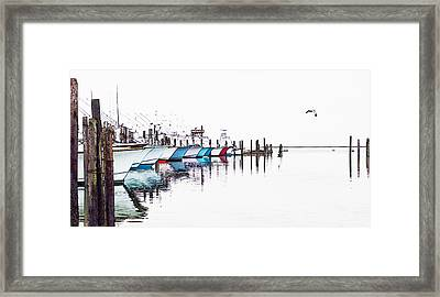 Outer Banks Fishing Boats Sketch #4 Framed Print by Dan Carmichael