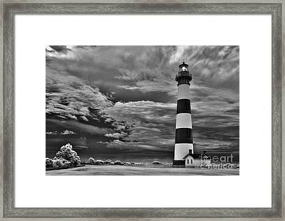 outer Banks - Stormy Day at Bodie Lighthouse BW Framed Print by Dan Carmichael