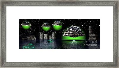 Framed Print featuring the digital art Outer Space by Jacqueline Lloyd