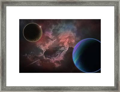 Outer Space Mystery Digital Painting Framed Print by Georgeta Blanaru