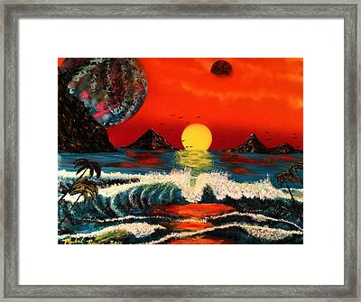 Framed Print featuring the painting Outer Worlds by Michael Rucker