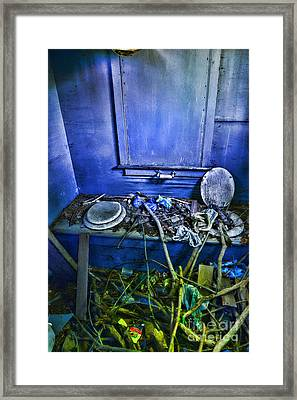 Outhouse Abandoned In The Woods Framed Print