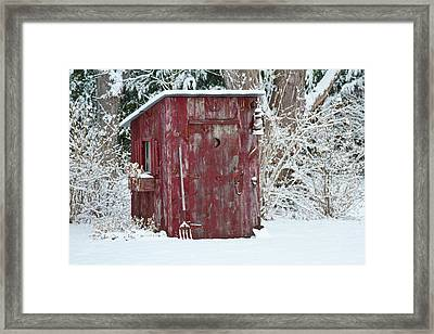 Outhouse Garden Shed In Winter, Marion Framed Print