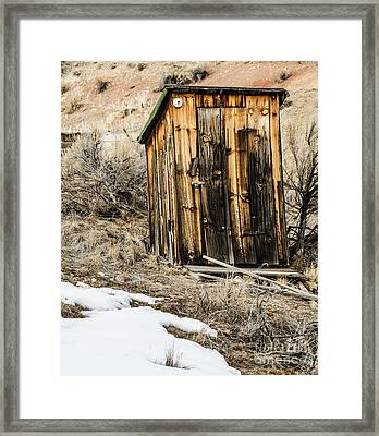 Outhouse With Electricity Framed Print by Sue Smith