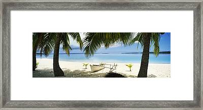 Outrigger Boat On The Beach, Aitutaki Framed Print by Panoramic Images