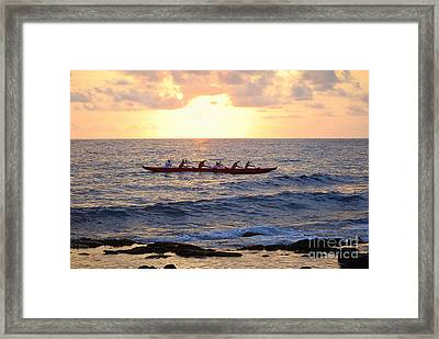 Outrigger Canoe At Sunset In Kailua Kona Framed Print by Catherine Sherman