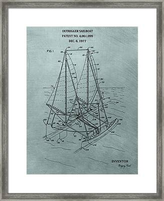Outrigger Sailboat Patent Framed Print