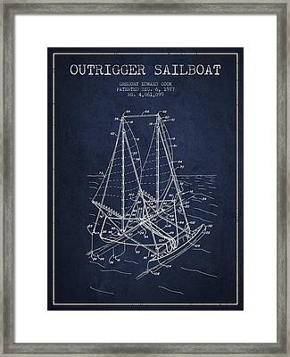 Outrigger Sailboat Patent From 1977 - Navy Blue Framed Print by Aged Pixel