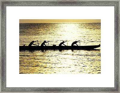 Outrigger Silhouettes Framed Print by Sean Davey