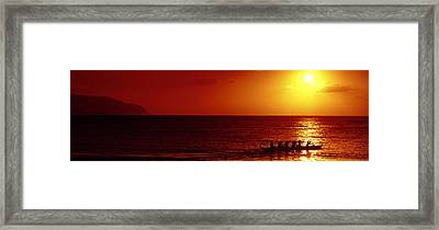 Outrigger Sunset Framed Print by Sean Davey