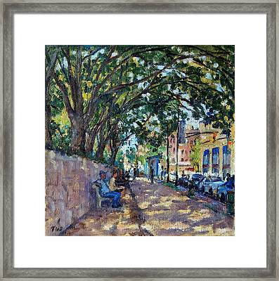 Outside Isham Park Summertime On Broadway Framed Print
