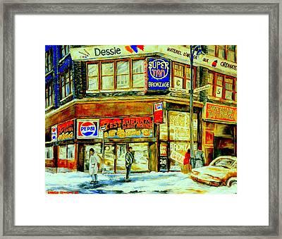 Outside La Belle Province Hamburger Pizza Deli  Cold Winter Walk Rue St. Catherine Montreal Scene  Framed Print by Carole Spandau