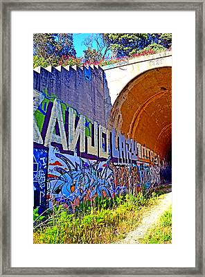 Outside The Abandoned Train Tunnel South Of The Old Train Roundhouse At Bayshore Near San Francisco  Framed Print by Jim Fitzpatrick
