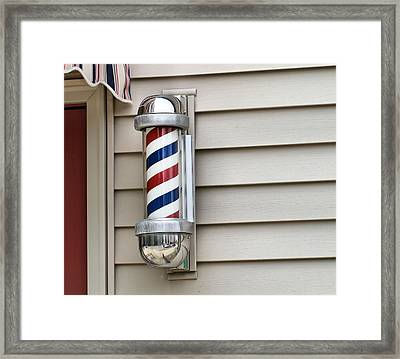Outside The Barbershop Framed Print by Dan Sproul