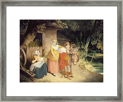 Outside The Cottage Door Framed Print by Francis Wheatley