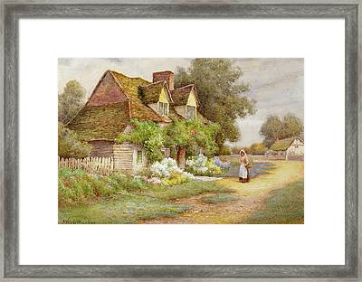 Outside The Cottage  Framed Print by Ethel Hughes