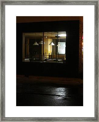 Outside The Edward Hopper Cafe Framed Print by Guy Ricketts