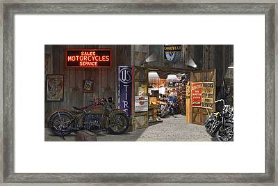 Outside The Motorcycle Shop Framed Print