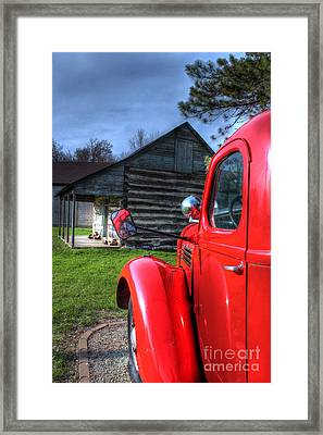 Outside The Old Log Cabin Framed Print