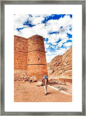 Outside The Walls Of Historic Saint Catherine's Monastery - Egypt Framed Print