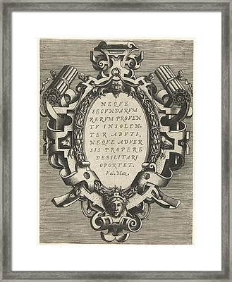 Oval Cartouche With A Quote From Valerius Maximus Framed Print by Frans Huys And Hans Vredeman De Vries And Gerard De Jode