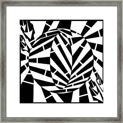 Oval Circle Distortion Maze  Framed Print by Yonatan Frimer Maze Artist