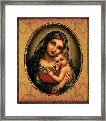 Oval Madonna  Framed Print by Ananda Vdovic