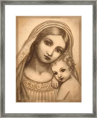 Framed Print featuring the mixed media Oval Madonna Drawing by Ananda Vdovic