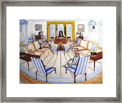 Oval Office Ghost With President Obama  Framed Print by Kenneth Michur