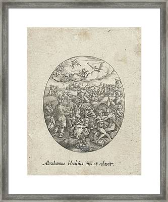 Oval With The Olympian Gods In The Clouds Framed Print