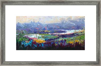 Framed Print featuring the painting Overlook Abstract Landscape by Talya Johnson