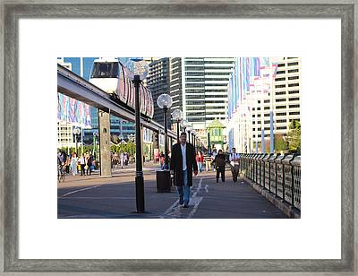 Over The Bridge Coming House Framed Print