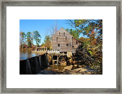 Framed Print featuring the photograph Over The Dam At Yates Mill by Bob Sample